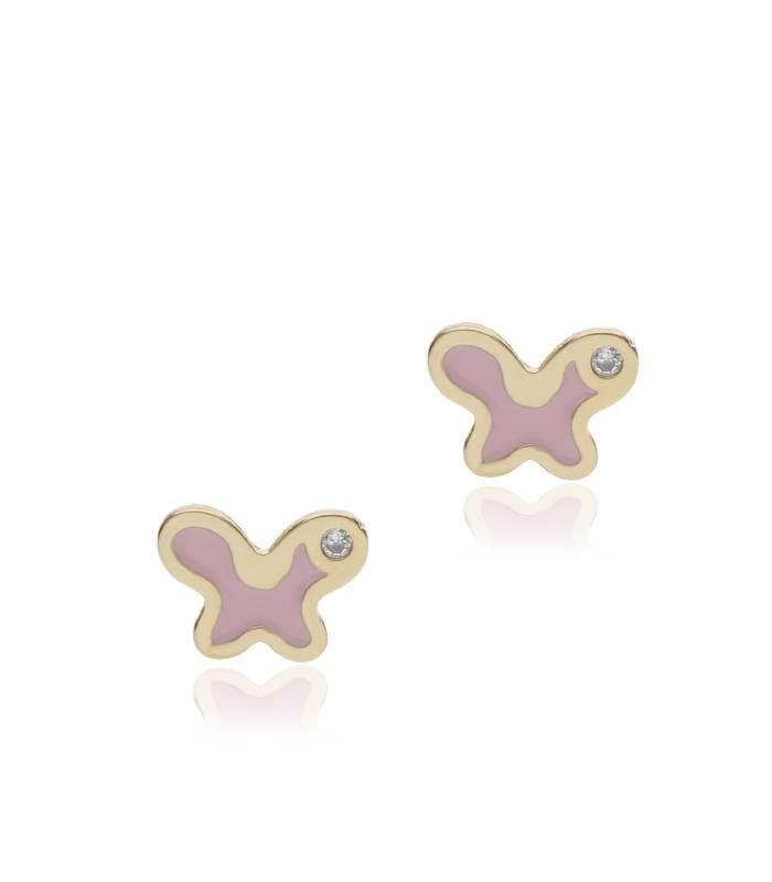 """Pendientes """"Pink Butterfly"""" oro 18k y esmalte"""