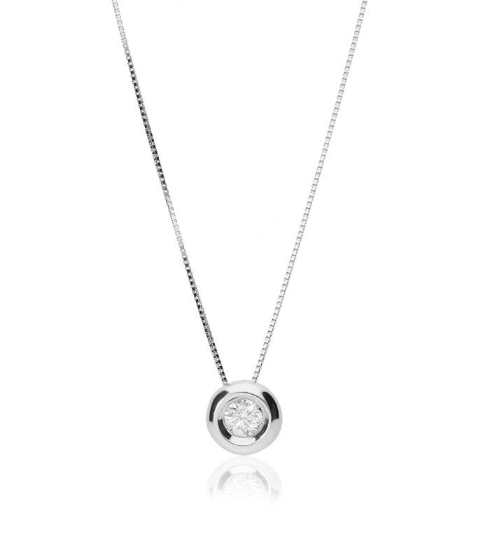"""Gargantilla """"Astrid"""" en Oro blanco 18k y Diamante"""