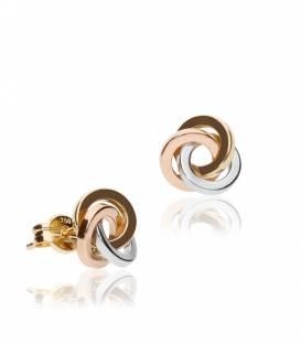 """Pendientes """"Twister"""" Oro Tricolor 18k"""