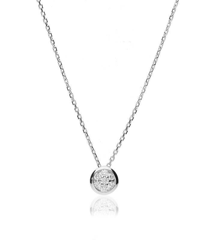 """Gargantilla """"Nomi S"""" en Oro blanco 18k y Diamante 0.09 cts."""
