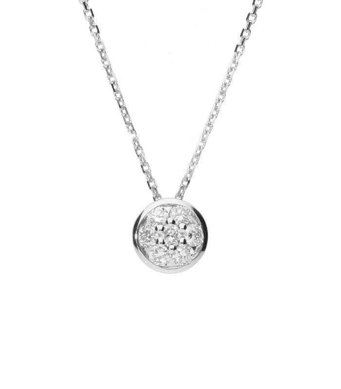 """Gargantilla """"Nomi L"""" en Oro blanco 18k y Diamantes"""