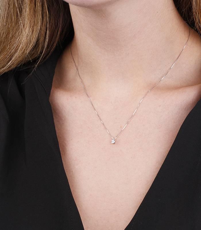 """Gargantilla """"Amanita XS"""" en Oro blanco 18k y Diamante"""