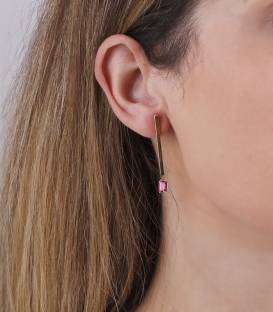 """Pendientes """"Enma Pink"""" Oro 18k y piedra rosa"""