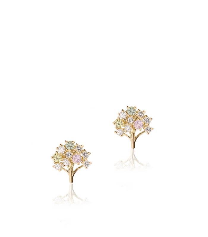 """Pendientes """"Árbol Multicolor"""" Oro 18k y piedras de color"""