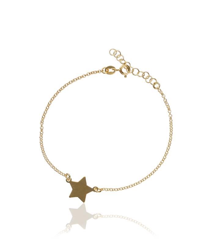 """Pulsera """"Estrella Dorada"""" Plata de Ley y baño de oro"""
