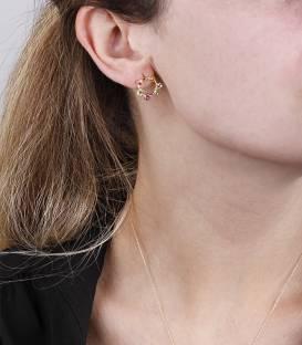 """Pendientes """"Paola Stone"""" Oro 18k y piedras semipreciosas"""