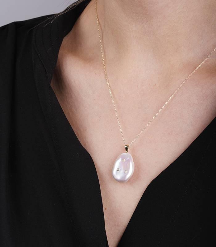 """Gargantilla """"Luisa Diamante"""" en Oro 18k perla cultivada y diamantes"""