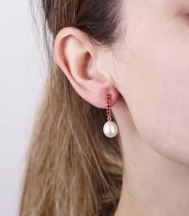 """Pendientes """"Rubi Pearl"""" Oro 18k. Perlas cultivadas y rubís"""