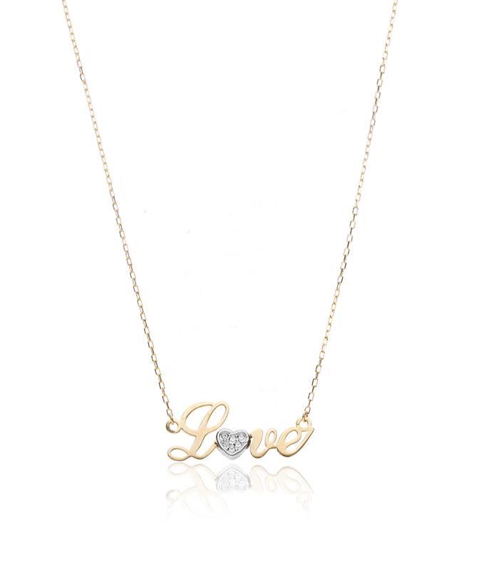 Gargantilla Love Heart oro bicolor 18k y circonitas pavé