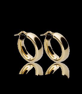 Aros gruesos ovalados de plata bañada en oro