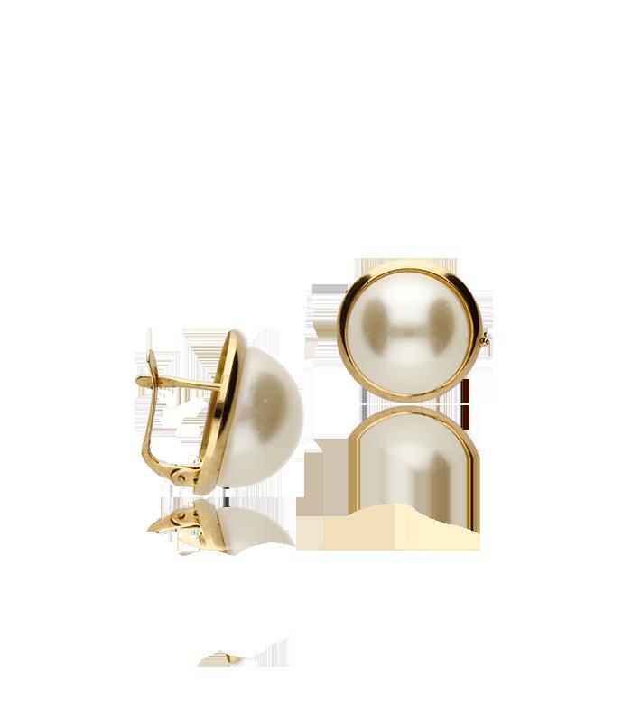 """Pendientes """"Marggiorie"""" de perlas con marco de oro"""