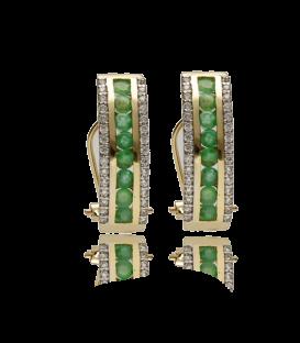 """Pendientes """"Cur"""" de oro con esmeraldas y circonitas"""