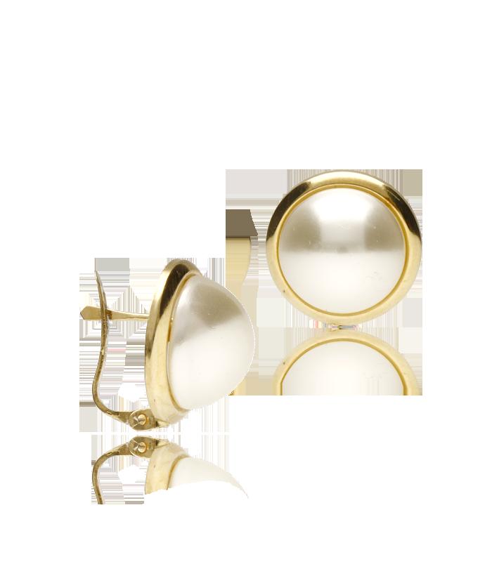"""Pendientes """"Sue"""" de perla semiesférica y marco de oro"""