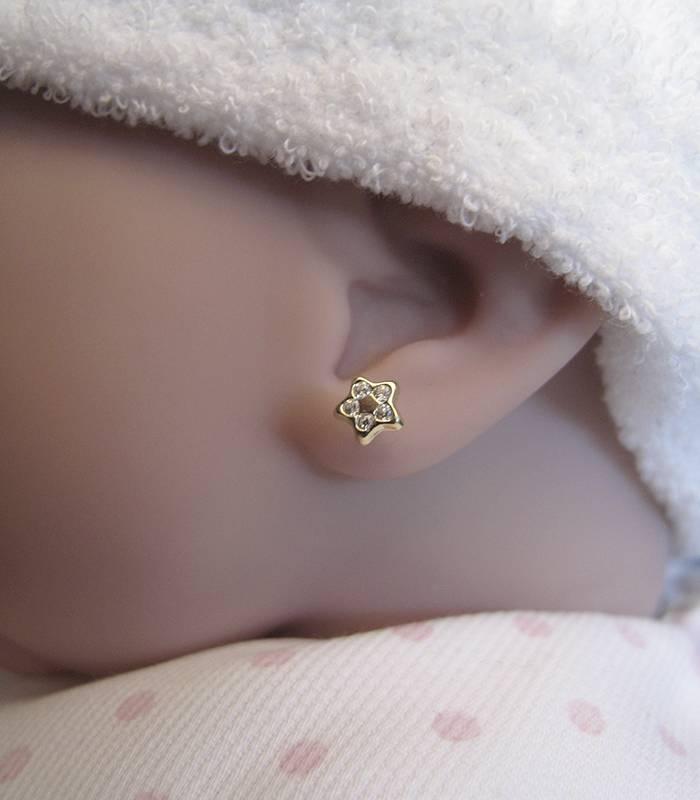 Pendientes bebé Oro 18k estrella y circonitas