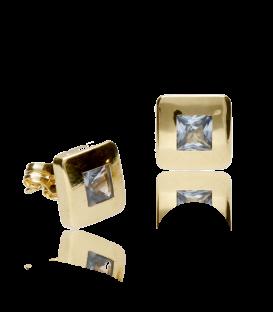 """Pendientes """"Square"""" de oro de ley con piedra aguamarina"""