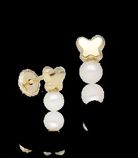 Pendientes de mariposa lisas de oro con perla