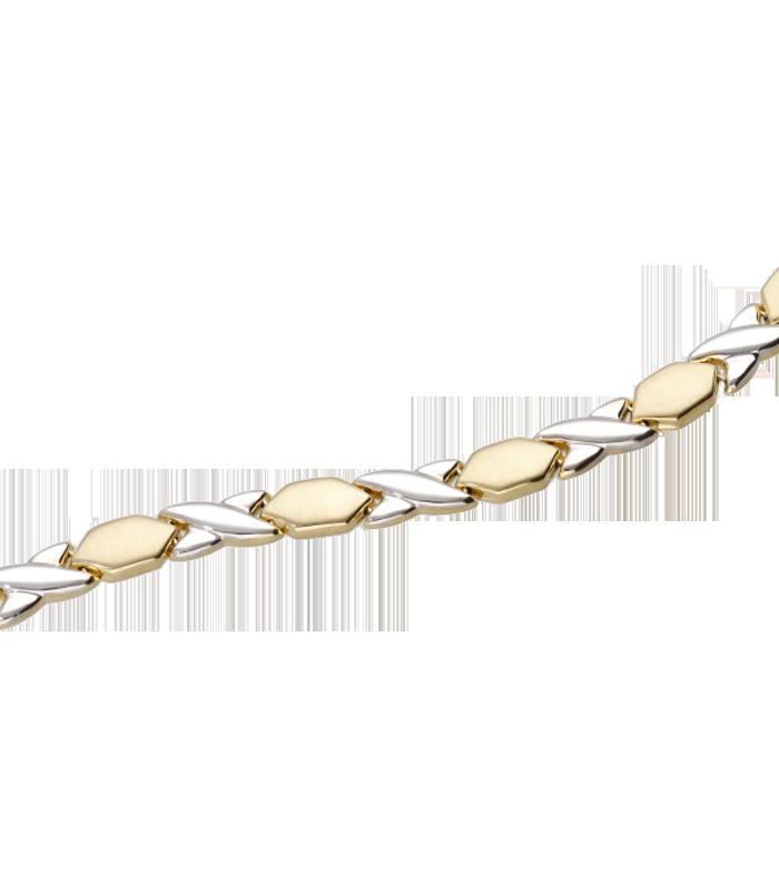"""Pulsera semirígida """"Equis"""" de oro bicolor con acabado brillo y mate"""