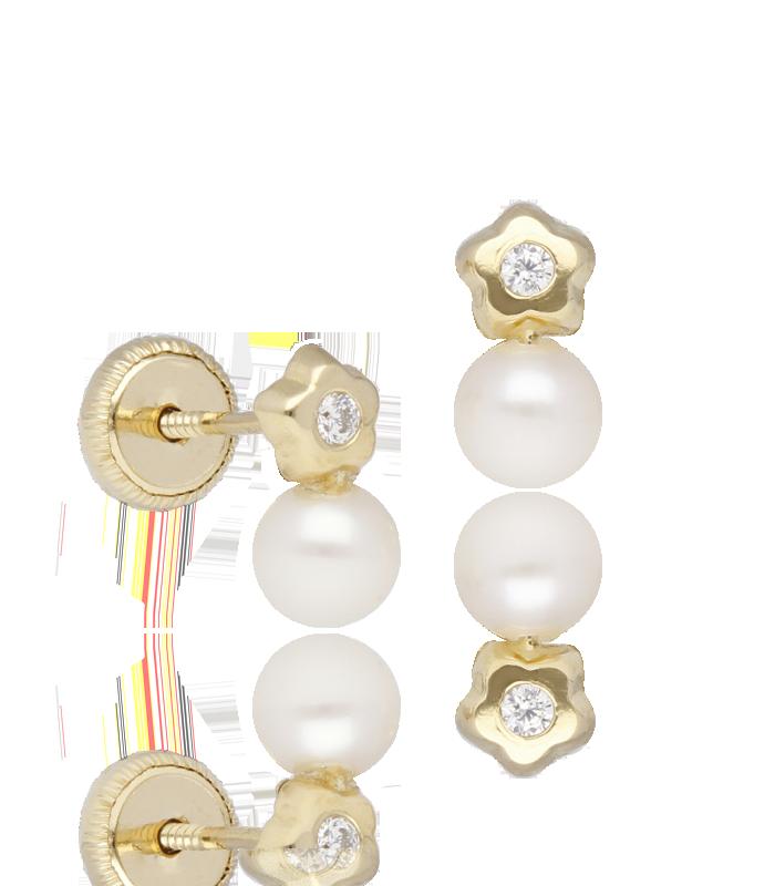 Pendientes de estrella en oro 18k con circonita y perla