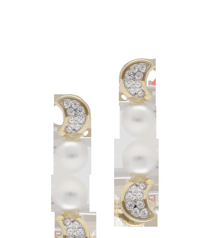 Pendientes de luna en oro 18k con circonitas y perla