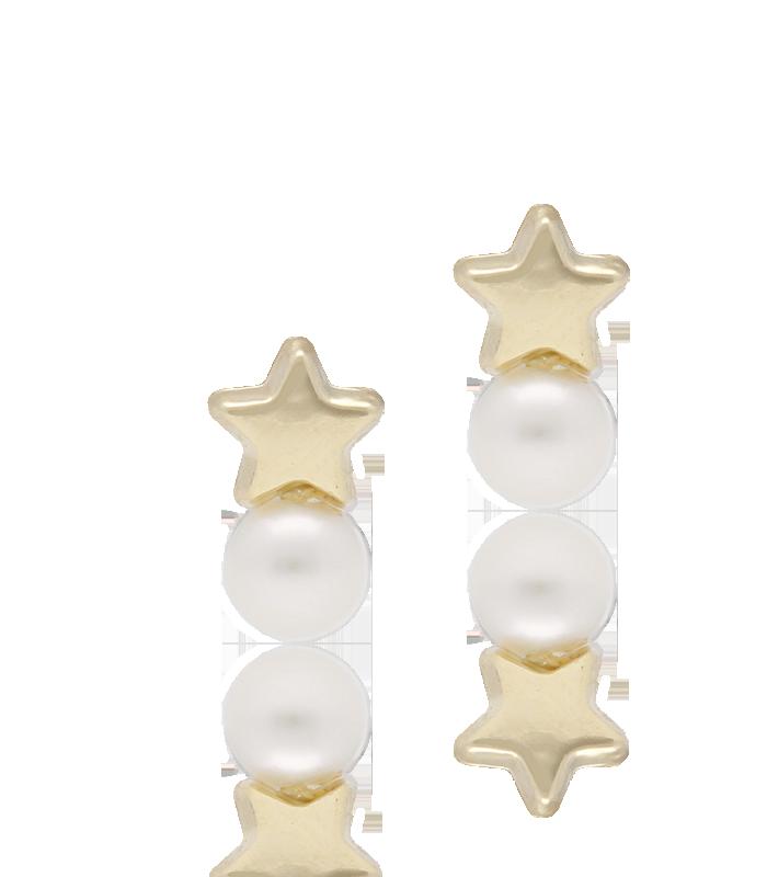 Pendientes de estrella en oro 18k con una perla