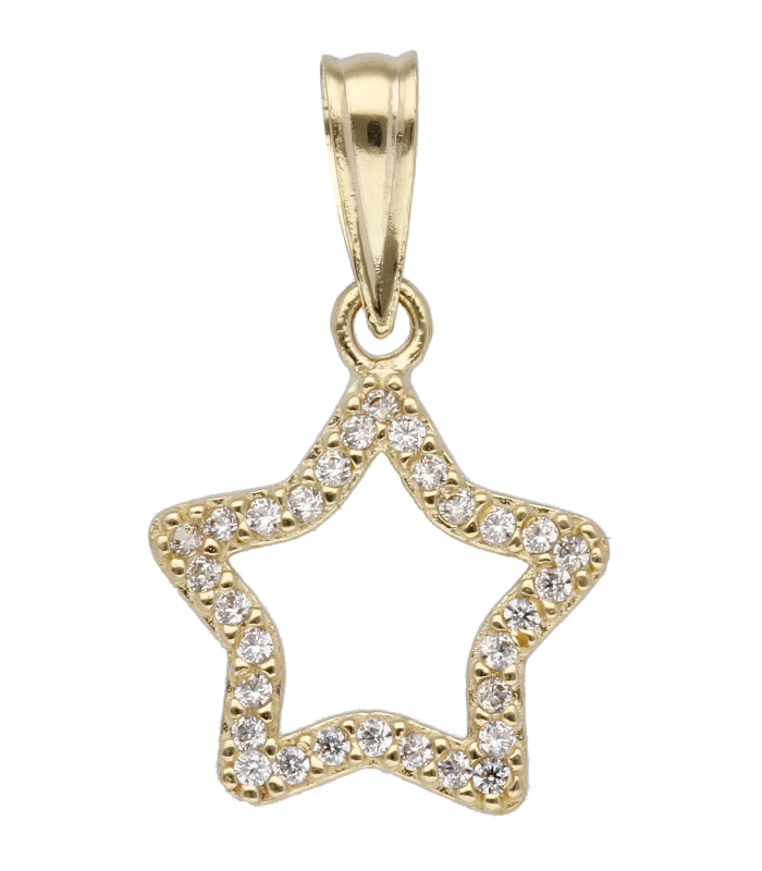 """Colgante """"Estrella O/A"""" oro 18k y circonitas"""