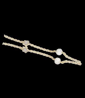 """Pulsera """"Angels"""" Oro 18k flor cinco pétalos, circonitas y perlas"""