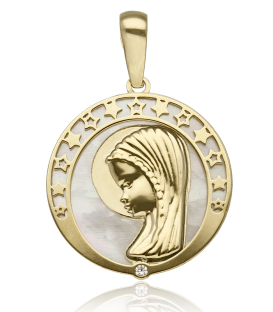 Medalla Virgen y estrellas