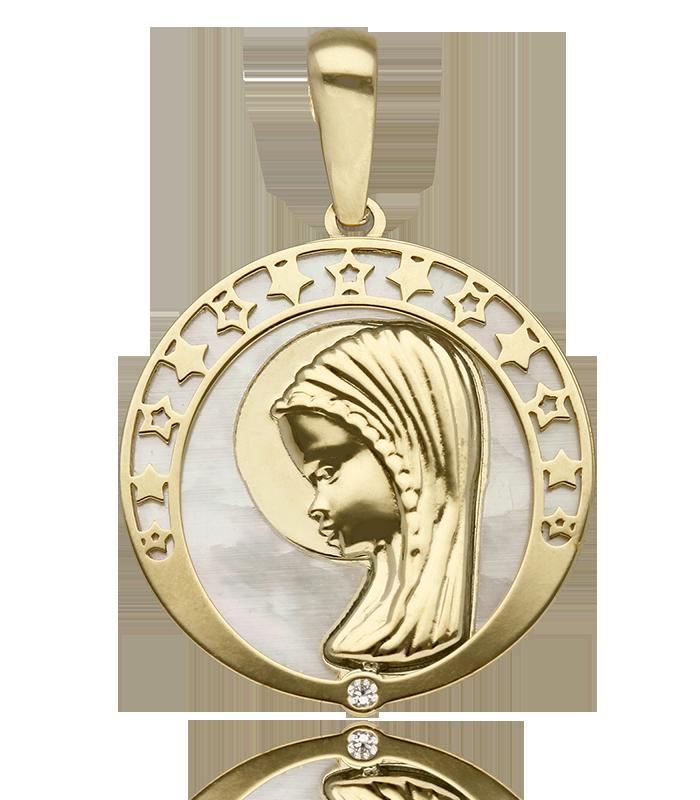 "Medalla ""Tighza"" Virgen Niña Nácar natural y Oro 18k"