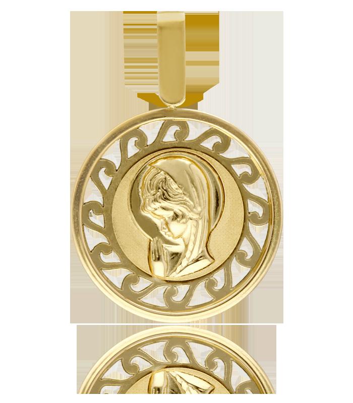 Medalla de oro con diseño de Virgen Niña