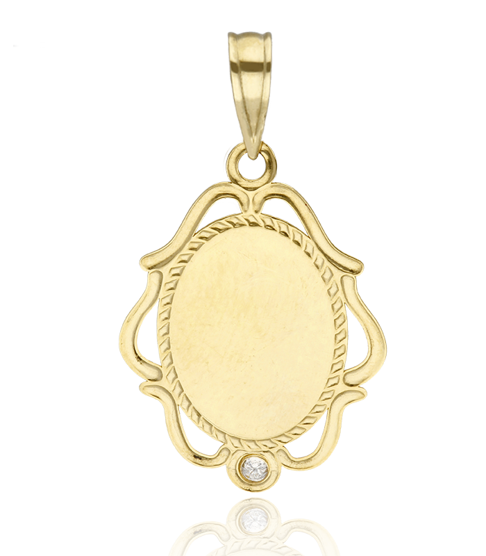 Medalla Virgen Niña de Oro 18k y Circonita