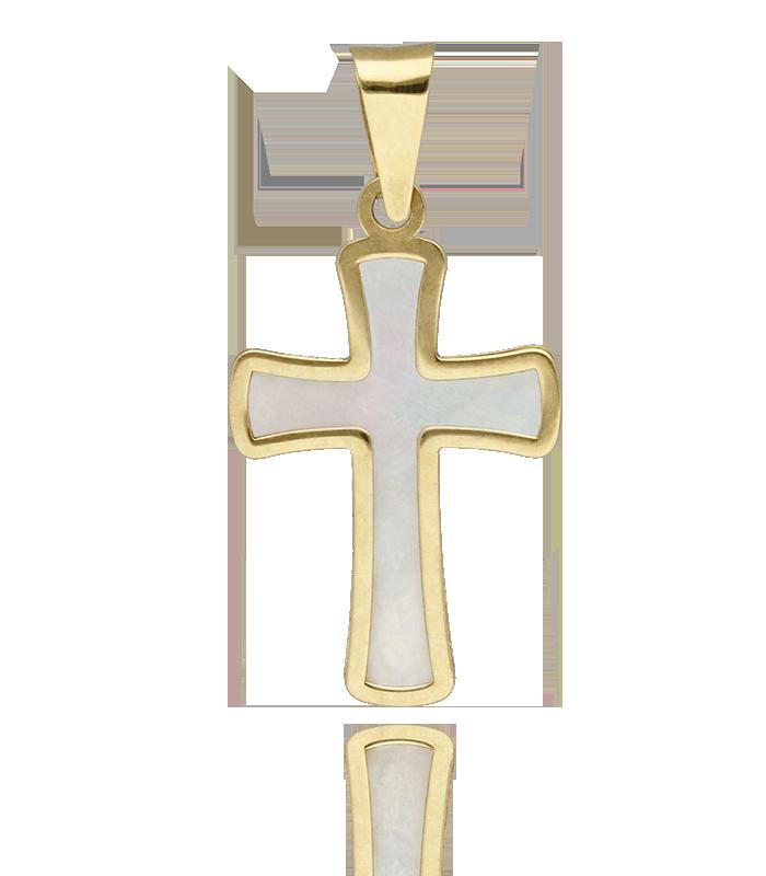 Cruz de oro 18k Fondo nacar pequeña