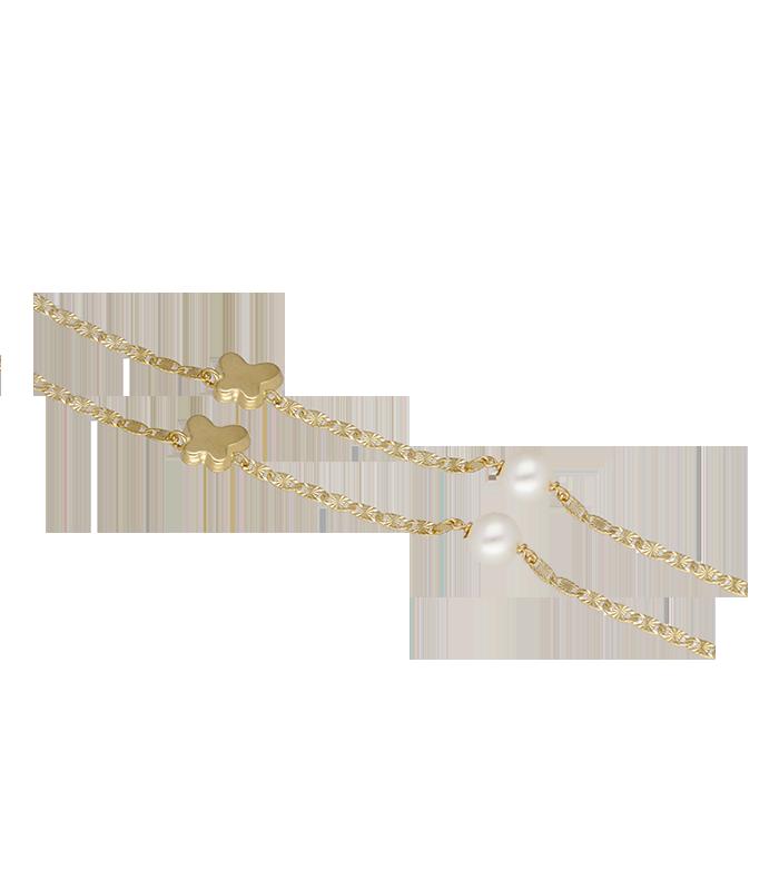 Pulsera Mariposas oro 18k con perlas