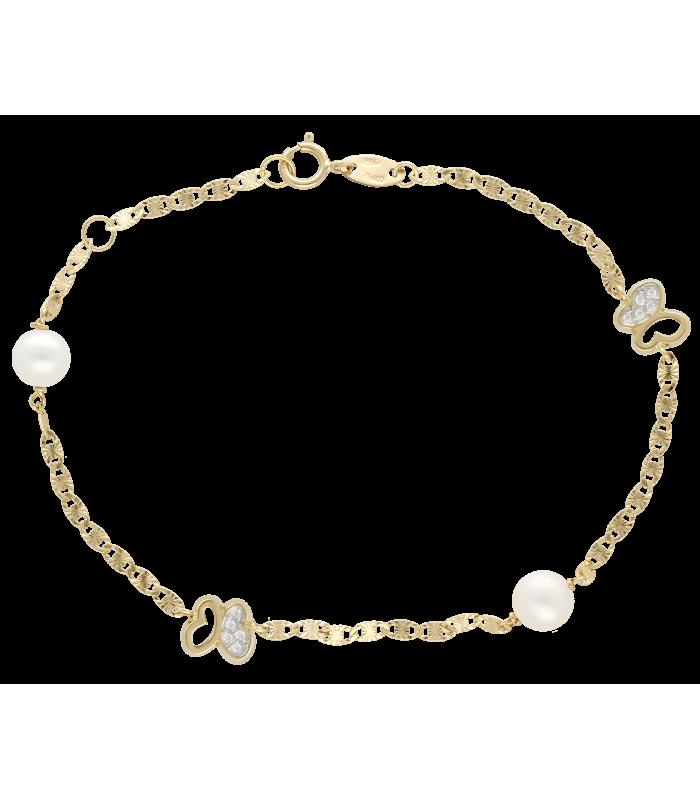 """Pulsera """"Paradise"""" Oro 18k. circonitas y perlas"""