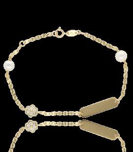Esclava de oro con Flores y Perlas