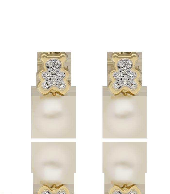 Pendientes Oso en Oro con Perla