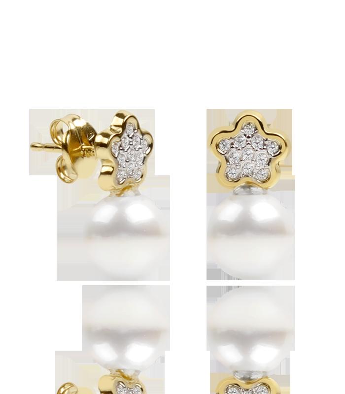 """Pendientes """"Petals"""" oro 18k con circonitas y perlas"""