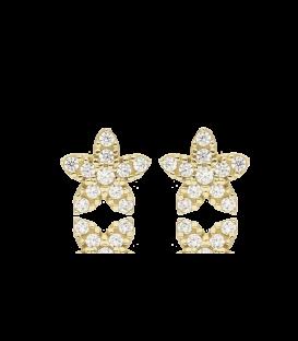 Pendientes flor oro 18k y circonitas