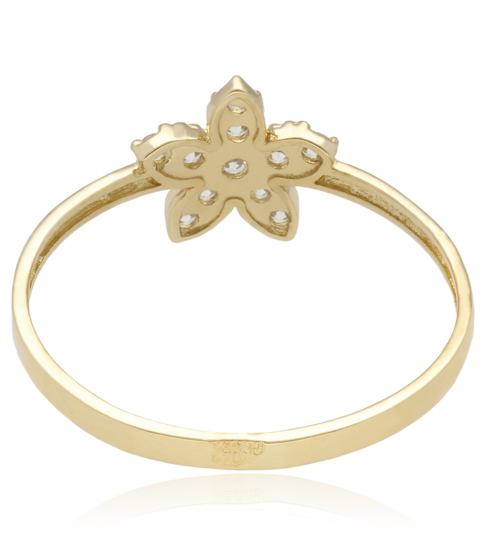 Anillo flor oro 18k y circonitas