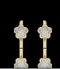 Pendiente flor oro 18k y circonitas