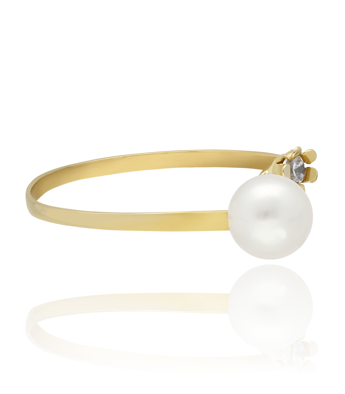 """Anillo """"Primavera"""" oro 18k con circonitas y perlas"""