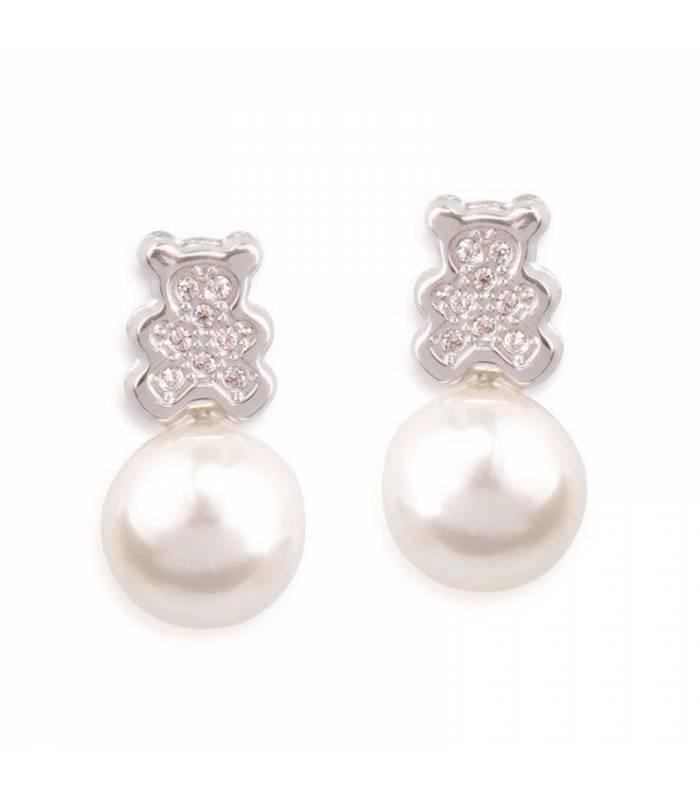 """Pendientes """"Baby Bear"""" Osito Oro Blanco 18k y perla"""