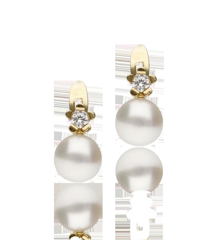 """Pendientes """"Moira"""" de oro 18K de perlas y flor de circonitas"""
