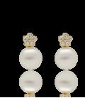 """Pendientes """"Flora"""" oro 18k con circonitas y perla"""