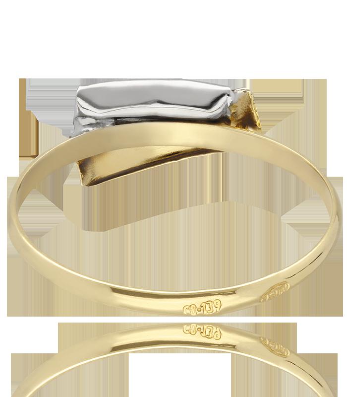 Anillo Claus de Oro bicolor 18K y circonitas