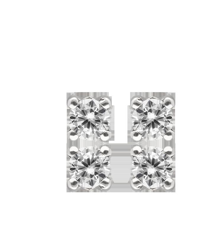 Pendientes Circonita Oro 18k Blanco.