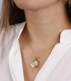 """Medalla Oro 18k """"Virgen Niña"""" calada circular 20mm"""