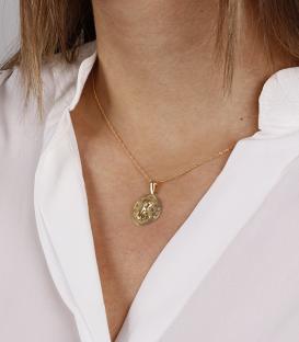 """Medalla de Oro 18K """"virgen Niña"""" calada en círculo con circonitas 20mm"""