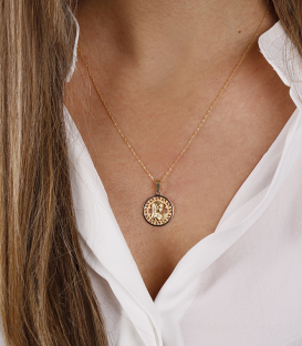 Medalla calada Virgen oro bicolor
