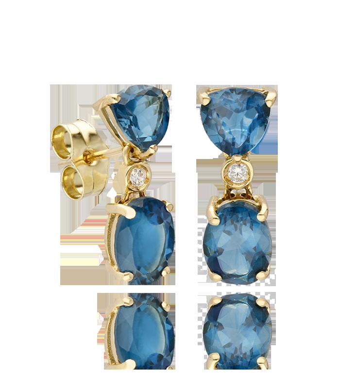 Pendientes colgantes Oro 18k y piedras de color