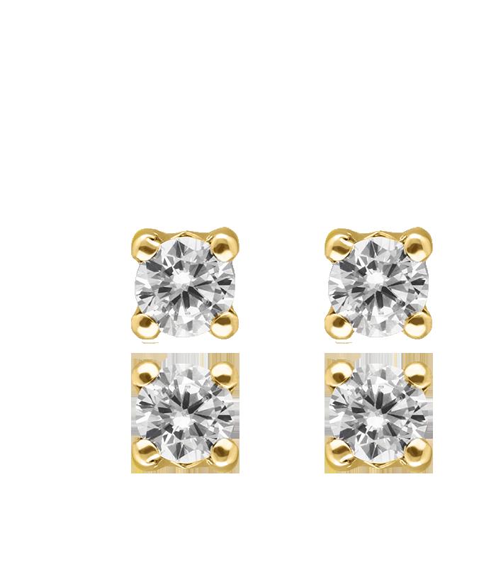 "Pendientes ""Four"" Circonitas Oro 18k"